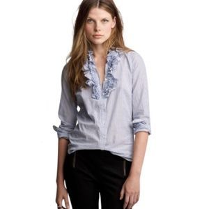 J. Crew Frances Striped Ruffle Button Down Shirt